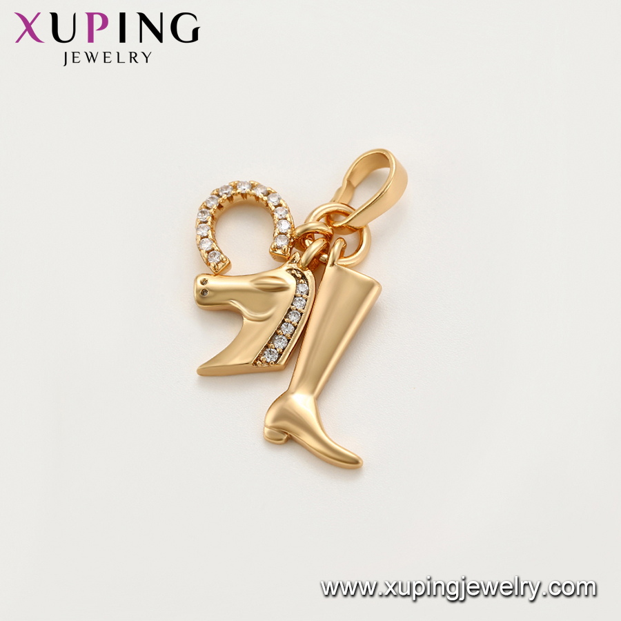 34219 xuping environmental copper animal horse pendants charms with gold color