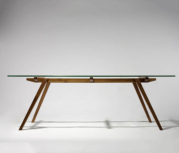 TL057 modern solid wood legs and glass dining table