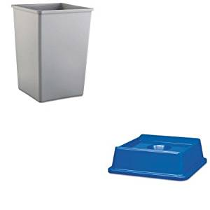 KITRCP2791BLURCP3958GRA - Value Kit - Rubbermaid 2791 Untouchable Bottle and Can Recycling Top for 3958-06, 3959-06 Containers (RCP2791BLU) and Rubbermaid-Gray Square Container (RCP3958GRA)