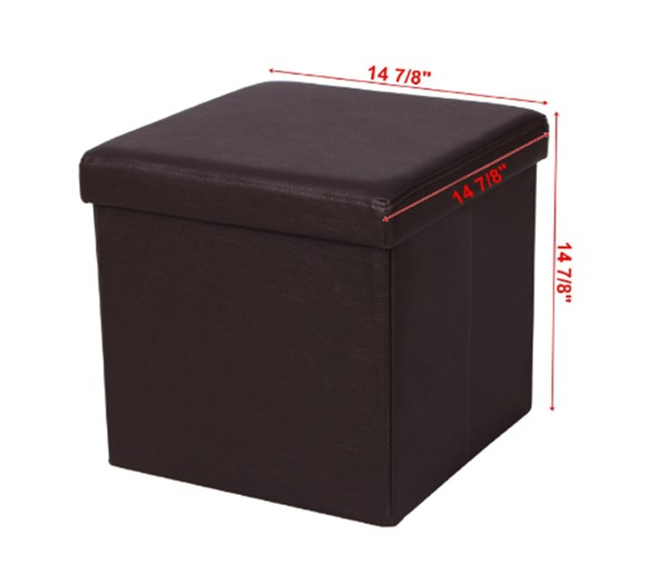 faux leather folding smooth brown storage ottoman cube for foot rest - Storage Ottoman Cube