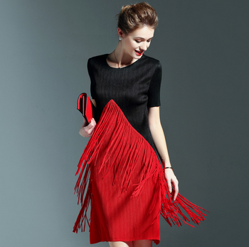 Women Daily Plicated One Piece Dress Red And Black Dresses Online