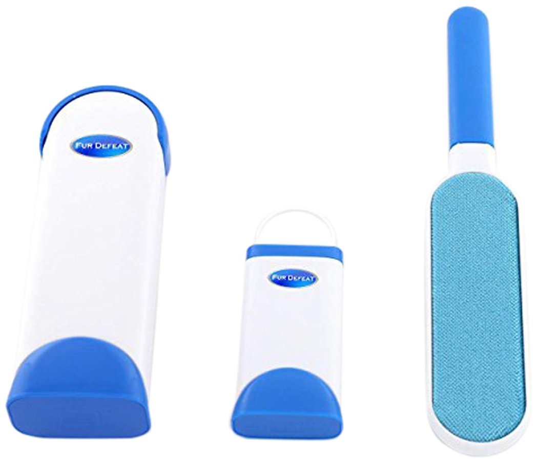 GenLed Pet Fur and Lint Remover with Self-Cleaning Base, Double-Sided Brush Removes from Clothes and Furniture, Blue