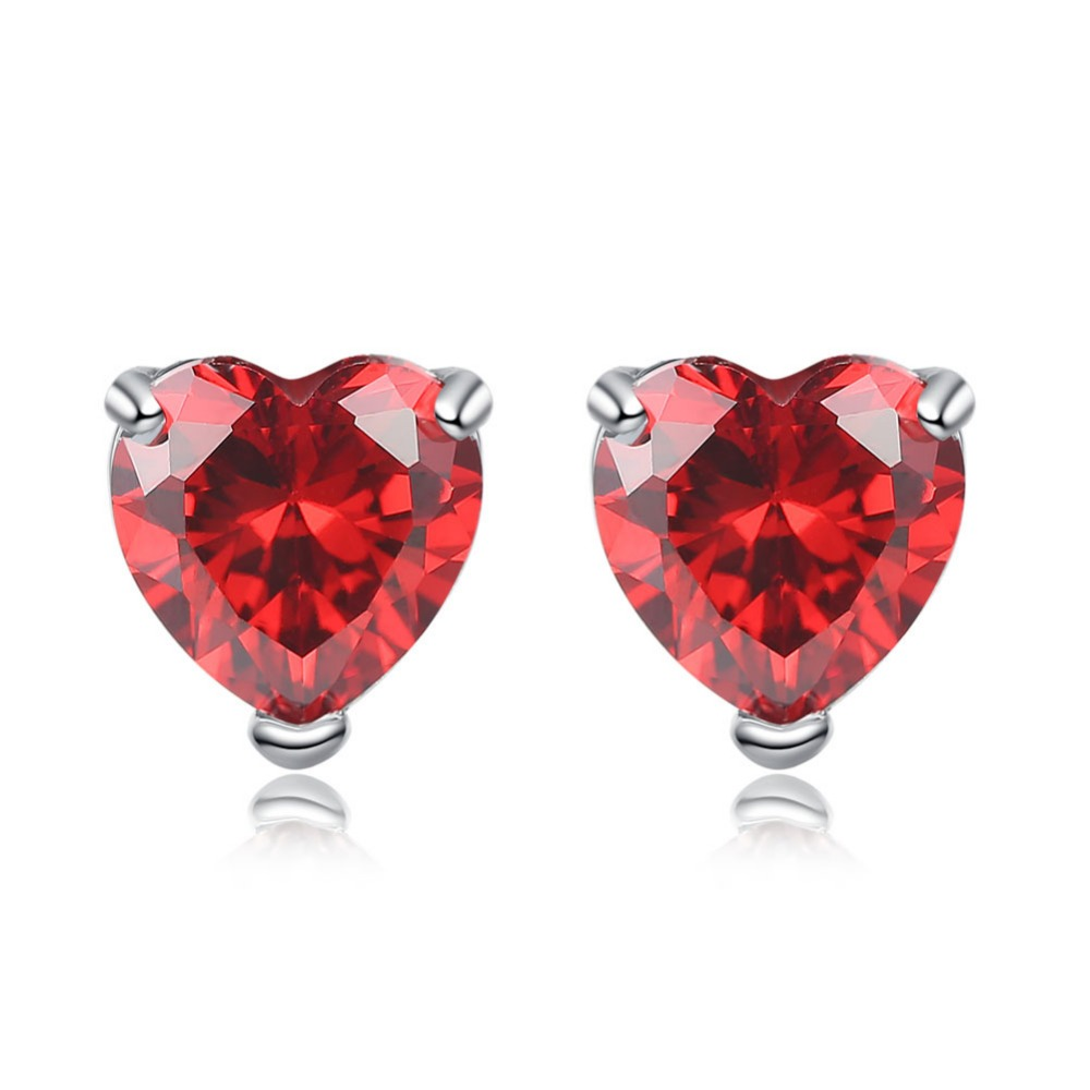 Elegant Women Stud Earrings heart stud earring AAA Zircon earrings Free Shipping