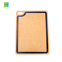 37*27.5cm Natural Brown Eco Friendly LFGB Pizza Peel Kitchen With Juice Groove Chopping Board