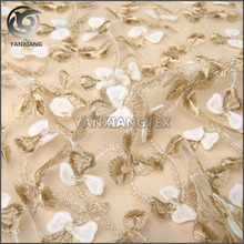 Machine Knitted 3D Gold and white cross applique mesh embroidery fabric