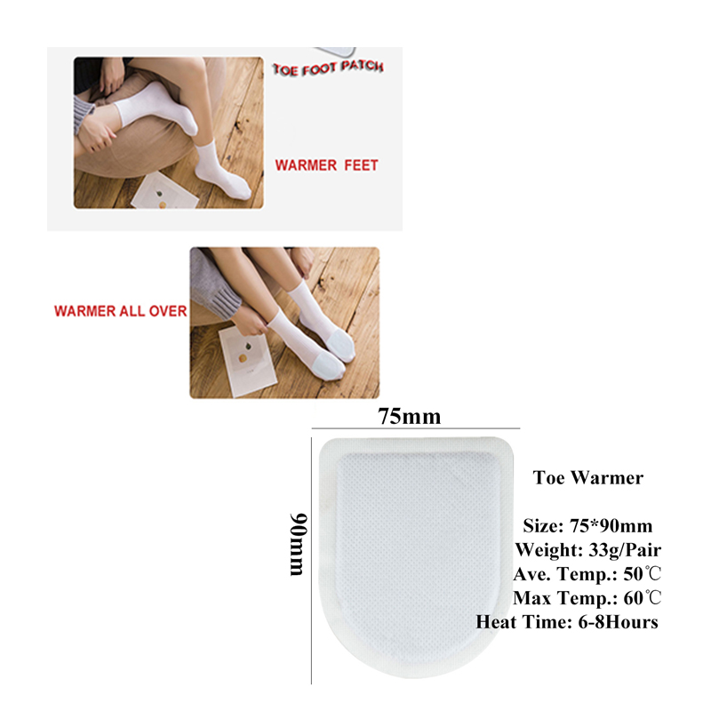 Air Activated Disposable Self Heating Adhesive Instant Heat Toe Warmer Pack