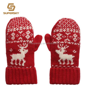 Red Nordic Reindeer Knit Mittens