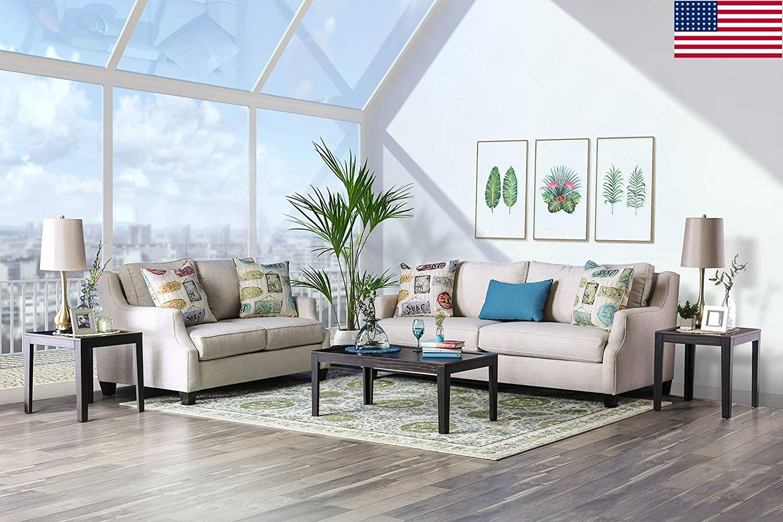 Esofastore classic beautiful beige color sofa loveseat plush cushion seats 2pc set pillows living room furniture