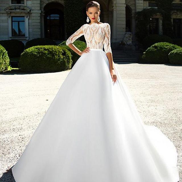dfb22541efa Pas cher dentelle française princesse à manches longues robe de mariée  musulmane avec satin longue train