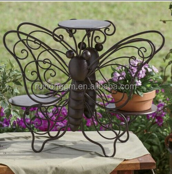 3 Pots Metal Garden Butterfly Flower Stand Wrought Iron Plant Stand