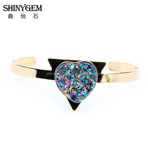 Heart Shape Colorful Titanium Druzy Resin Stone Bangles 24k gold plated Fashion Women Jewelry Valentine Gift