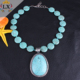 NLX-00752 high quality natural big chunky turquoise stone necklace round shape turquoise beaded necklace for men