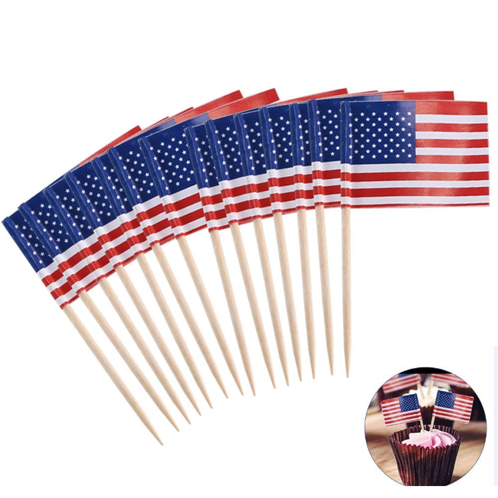 82903069858 Get Quotations · ETSAMOR 100pcs American Flag Picks Mini Flag Food  Toothpicks for Patriotic Party 4th of July Decorations