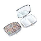Rectangle Shape Travelling Gift Pill Box Metal Medicine Box with two Conpartments HQ490814