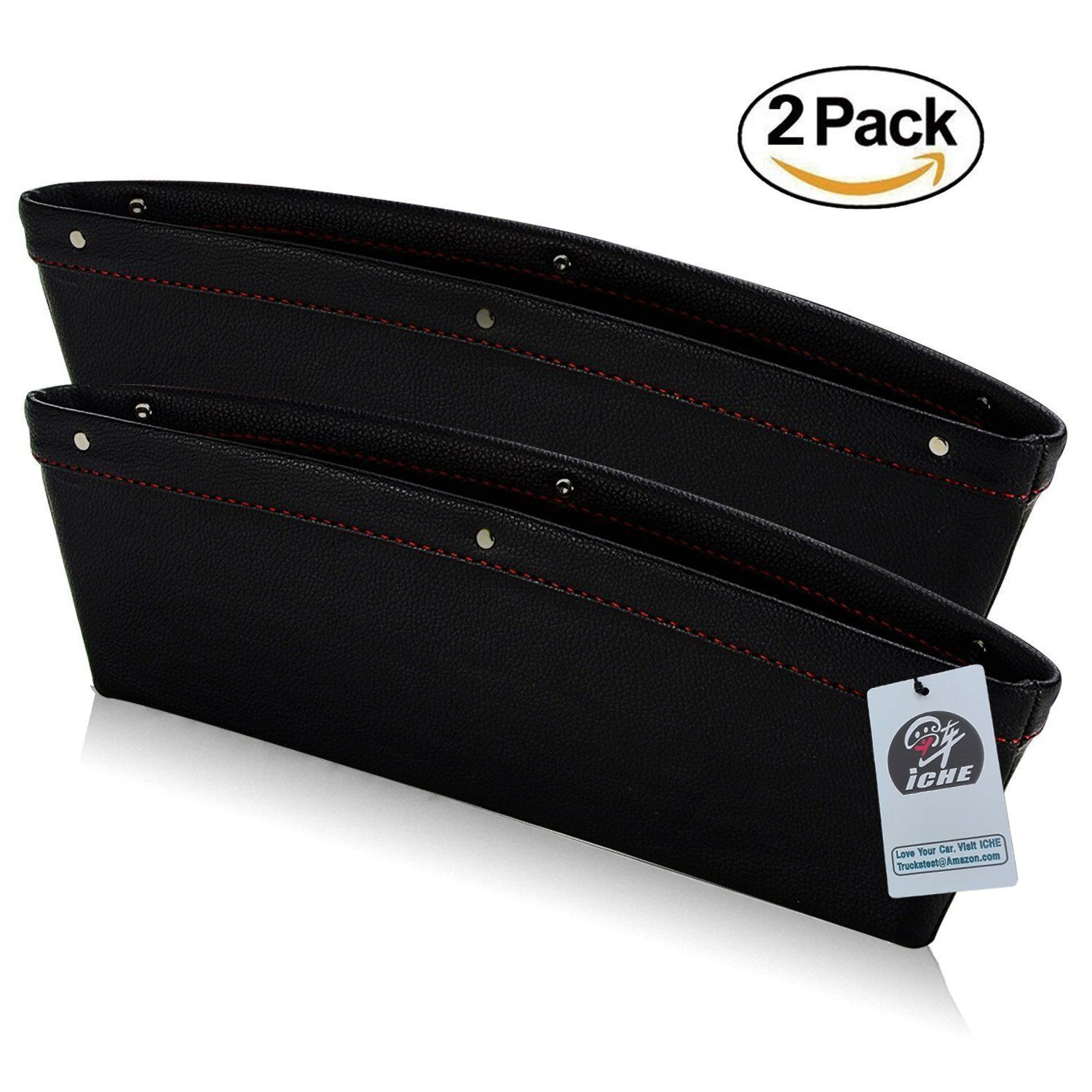 ICHE Car Pocket Organizer Car Seat Gap Filler Catch Caddy - Between Seat and Console - PU Leather - Pack of 2