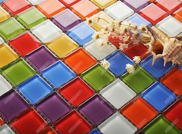 Red Blue Green Yellow White Purple Mix Color Glass Mosaic