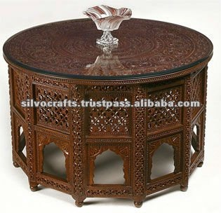 Wooden Carved Round Top Jali Table (Carved Furniture From India)
