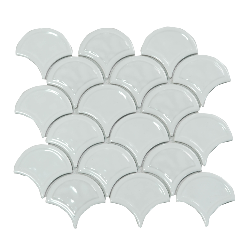 - Fish Scale Fan Shaped Ceramic Mosaic Bathroom Exterior Wall Tile