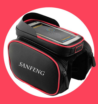 Water Resistant Bike Top Tube Pannier Bag, Wholesale Bicycle Front Frame Bag with Touch Screen Phone Case