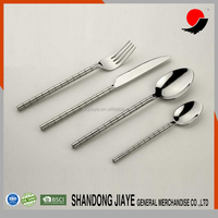 Cylinder Fine Ring Pattern Handle Stainless Steel Cutlery Knife Spoon
