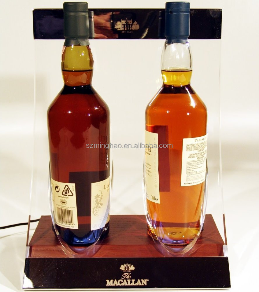 Acrylic display with wood base wine bottle holder LED display stand