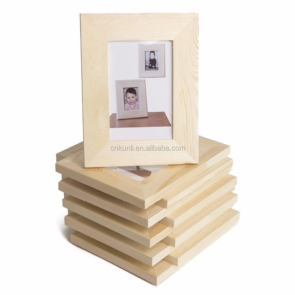 Solid DIY Unfinished Wood Picture Frame 4x6 Inches Great for Kid's Art Craft Projects Set of 10 (4x6)