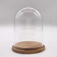 Wholesale Clear Glass Dome Cover with Round Bamboo Wooden Base, Glass Cloche