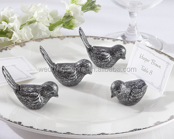 Antiqued Bird Place Card Holder