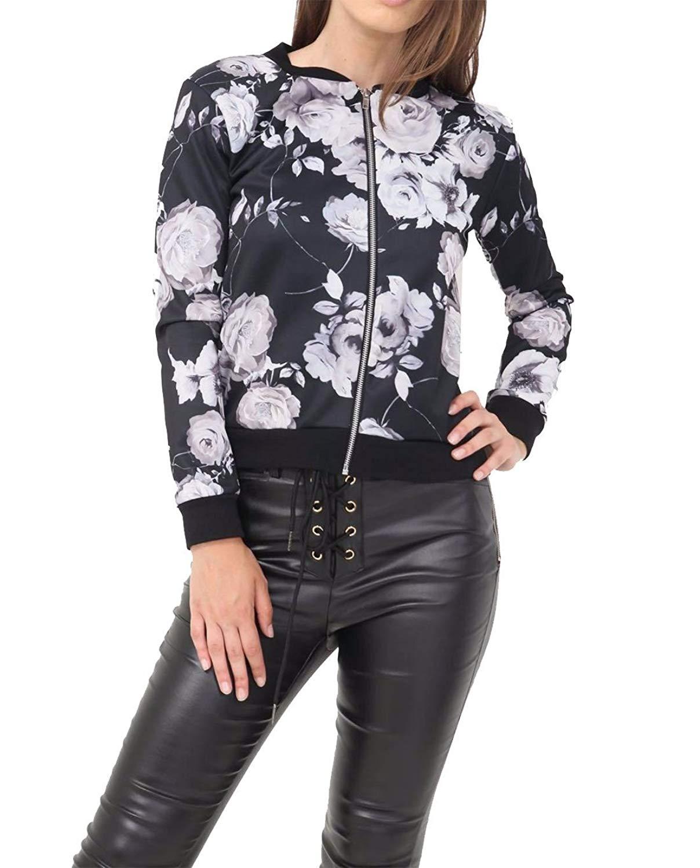 MA ONLINE Womens Fancy Zipper Butterfly Floral Printed Bomber Jacket Ladies Long Sleeve Festive Party Coat