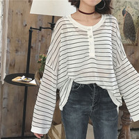 B22372A new design women Perspective blouse Long Sleeved loose knit stripe T-shirt