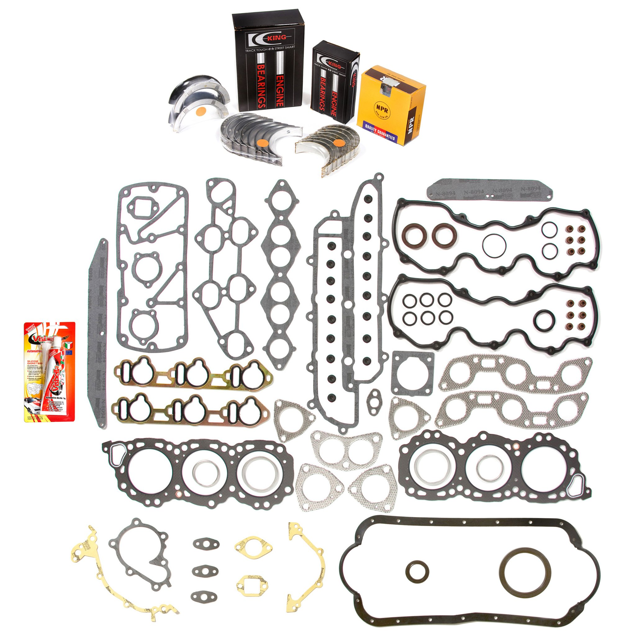Domestic Gaskets Engine Rering Kit FSBRR3009\0\0\0 84-86 Nissan Maxima 300ZX 3.0 SOHC VG30 Full Gasket Set, Standard Size Main Rod Bearings, Standard Size Piston Rings