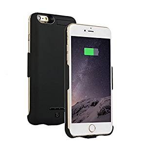 """iPhone7(4.7"""") Battery Case, MinzyCase 5000mAh [Ultra-Thin] [Urltra-Light] [No Chin] Standby Switch Lighting Charging Battery Full Power Bank Protection Back Case for iPhone7[4.7inch] (Black)"""