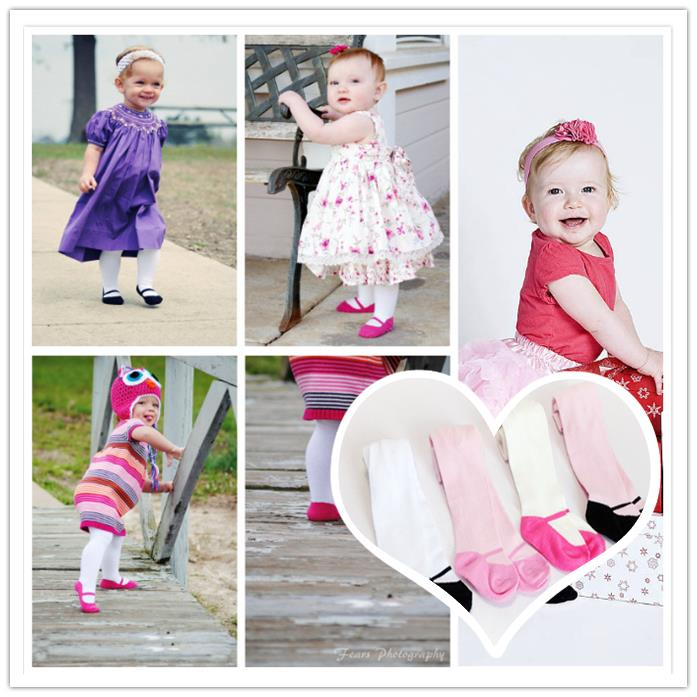 Retail 3pieces lot 0 6months tights stockings pure color shoe style children Kids infant Baby Combed