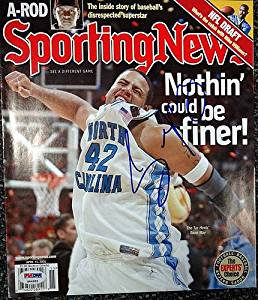 baad926a7dd Get Quotations · Sean May Signed Sporting News Magazine Cover UNC Tar Heels  - PSA/DNA Authenticated -
