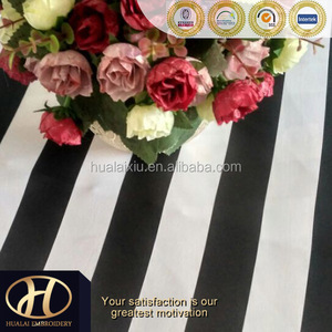WHITE AND BLACK STRAIGHT PRINT MATTE SATIN TABLE CLOTH FOR WEDDING