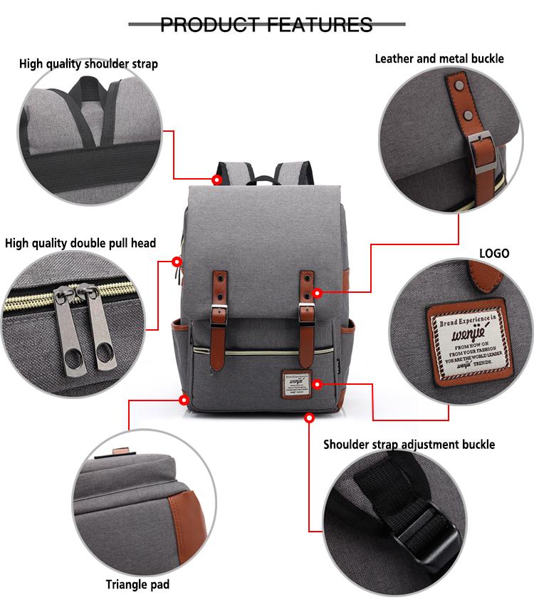 Private label unisex big bookbags boy custom gray solid colour university school backpacks for men