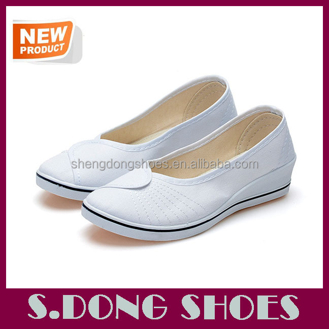 New model canvas women unique nurse shoes with wedge heels