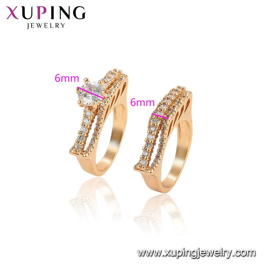 15752 Xuping elegant high quality noble gold plated engagement ring  set