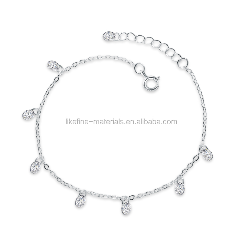 Wholesale price artificial diamond 925 sterling silver bracelet
