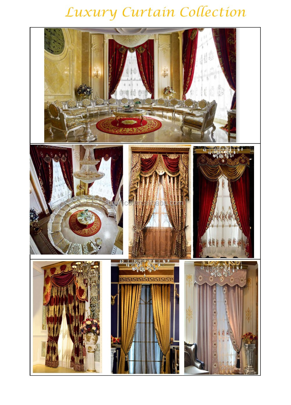 European Luxury Gold and Blue Embroidery Chenille Cloth Blackout Valance Curtain