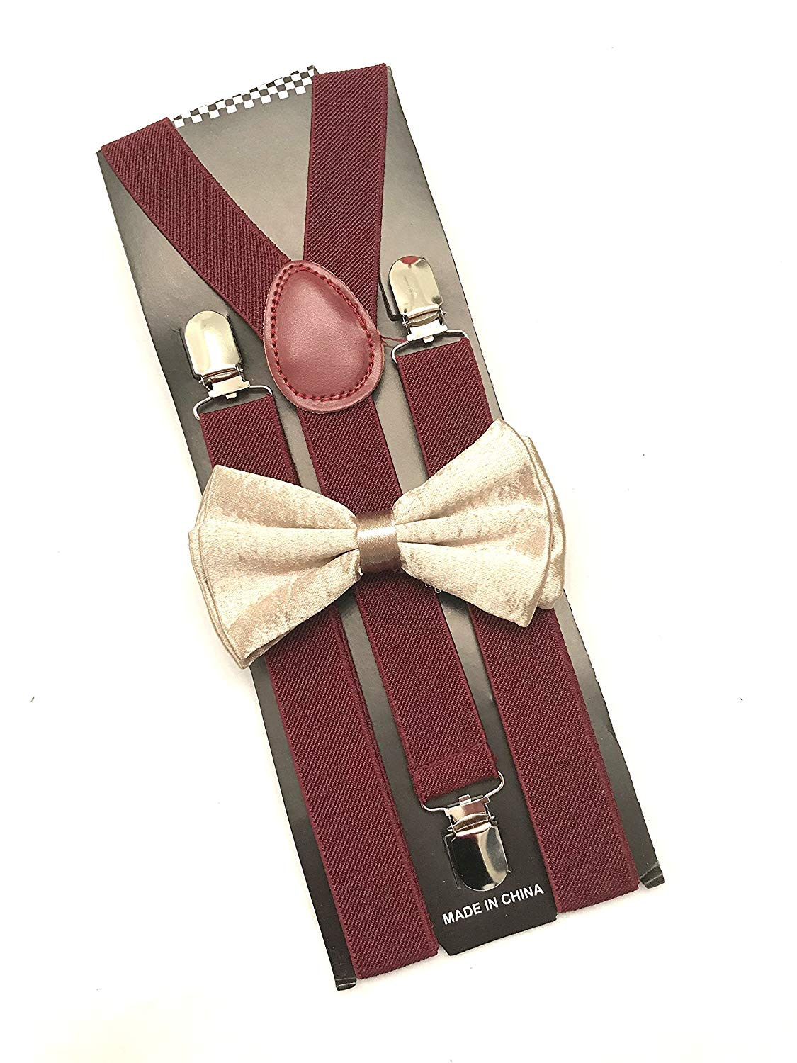 Awesome Burgundy Wedding Accessories Adjustable Bow Tie & Suspenders