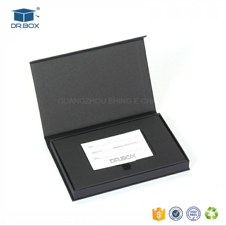 Printing black color art paper folding credit card packaging/sd card packaging with magnetic closure/trading card packaging box