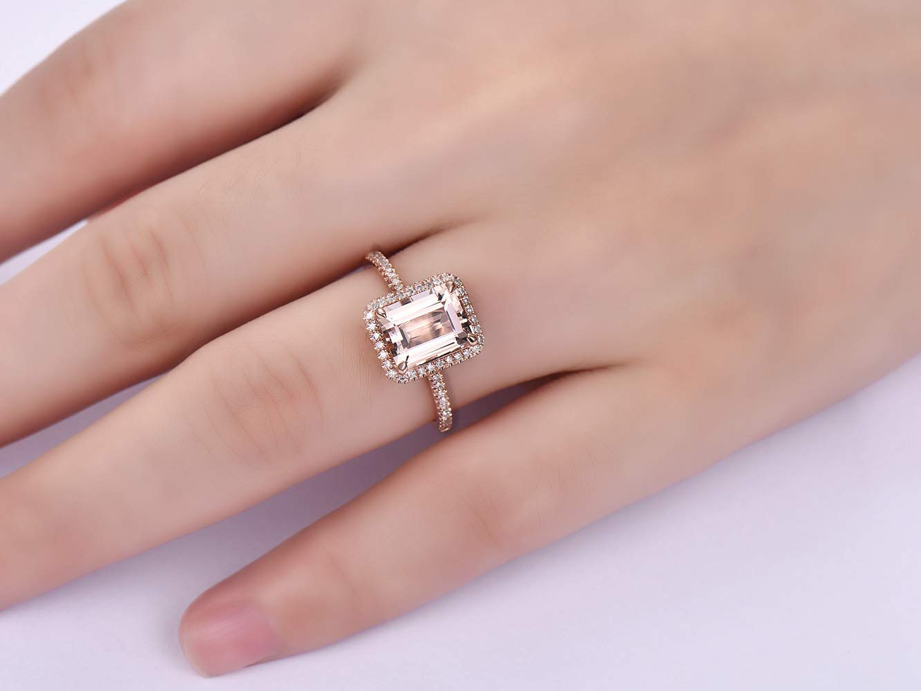 Buy 14K Rose Gold Emerald Cut Diamond Milgrain Engagement Ring For Women  0.65 Ct GIA (D Color,VVS1 Clarity) in Cheap Price on m.alibaba.com