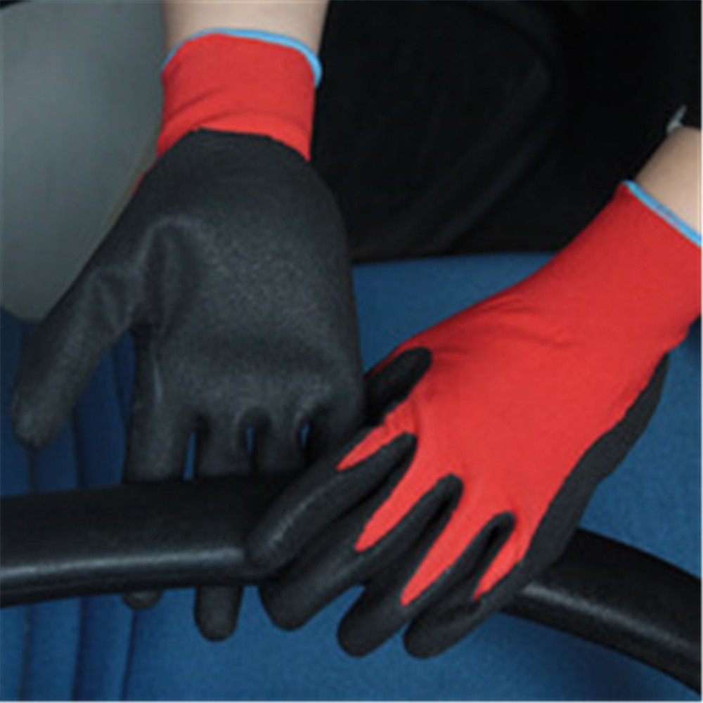 Brand MHR 13 gauge knitted bamboo liner coated green normal foam nitrile gloves,breathable,green safety working gloves
