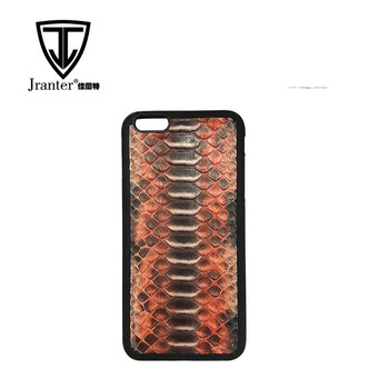 Jranter OEM/ODM Genuine Leather Case for iPhone 6/7/7plus Python Skin Back Cover
