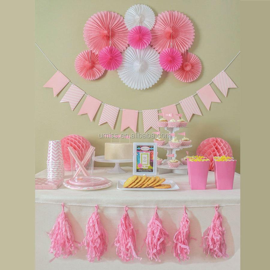 UMISS 16 adet bir kız afiş kağıt hayranları Garland fener, en iyi cinsiyet Reveal, bebek duş, doğum günü partisi süslemeleri