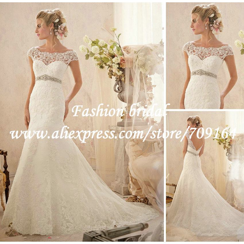 Low Waist Wedding Gowns: 2014 New Mermaid Lace Wedding Dresses Short Sleeve Low