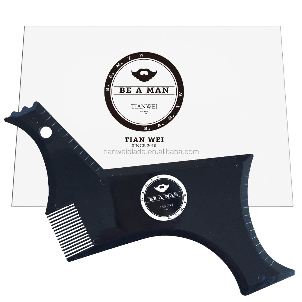 OEM New model of the beard shaping tool with built-in comb/ New designed facial hair trimming template / beard grooming stencil