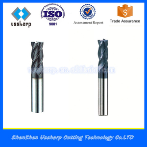 High Quality 4 Flute Flat Carbide End Mills, 45HRC solid carbide end mills