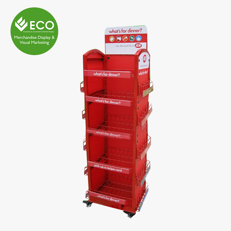 Five Tires Metal Display Stand With Wheels/Side Packaging Boxes For Food Display